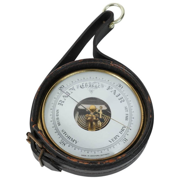 Brass German Barometer with Readings in English Wrapped in Leather, Adnet Style