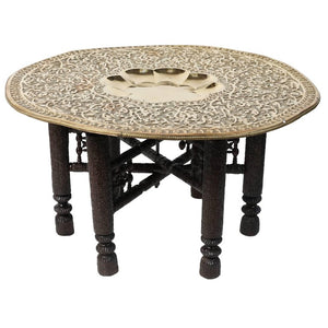 Mughal Empire Antique Brass Tray Table with Hand-Carved Wooden Folding Stand