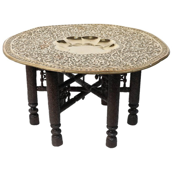 Mughal Empire Antique Brass Tray Table With Hand Carved