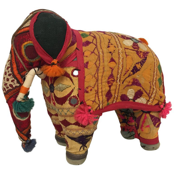 Hand-Crafted Anglo Raj Vintage Stuffed Cotton Embroidered Elephant, India