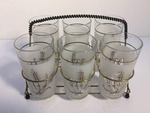 Set of Six Vintage Drinking Glasses in Brass Cart by Covetro, Made in Italy