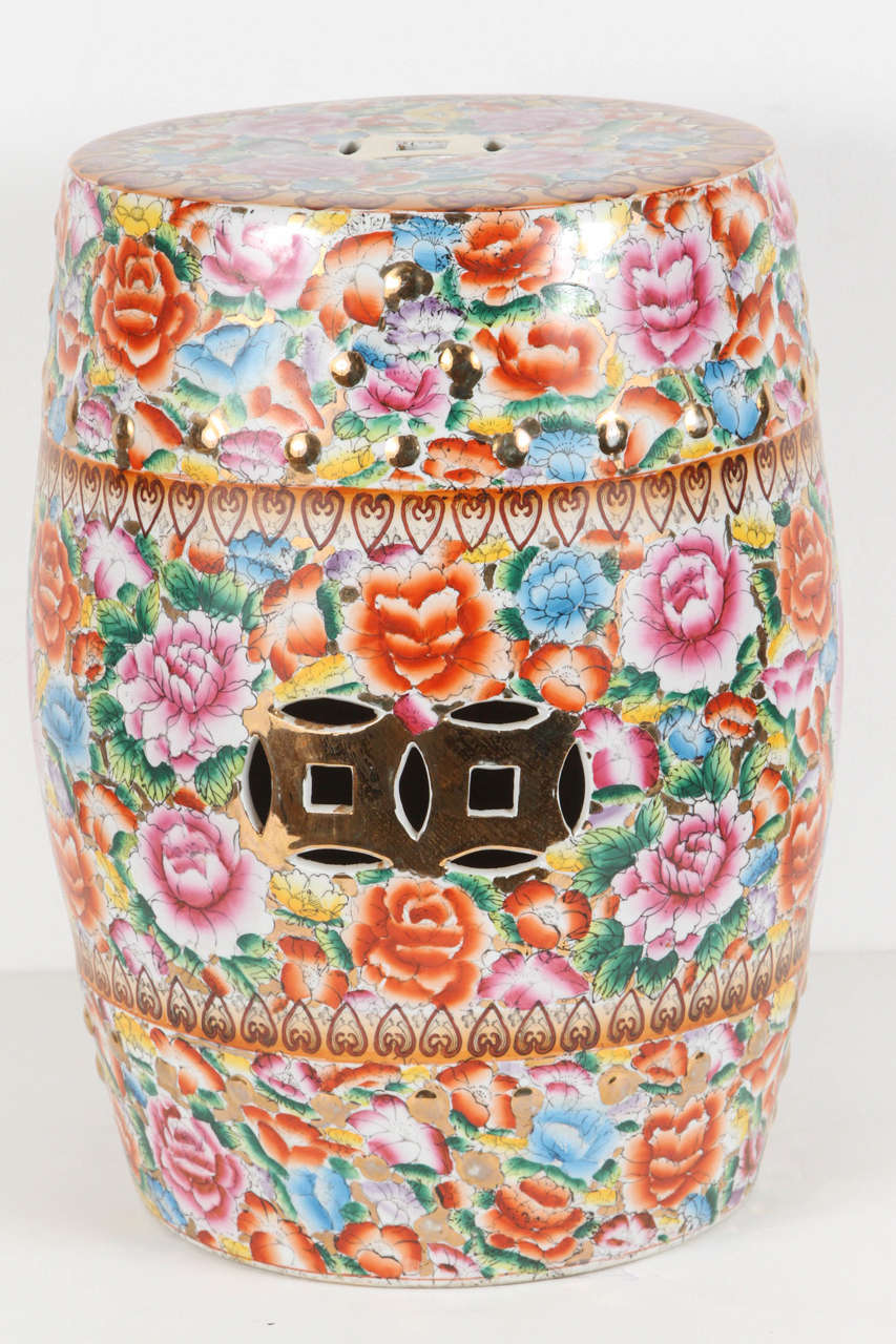 ... Japanese Pink Ceramic Garden Seat With Lucky Coins ...