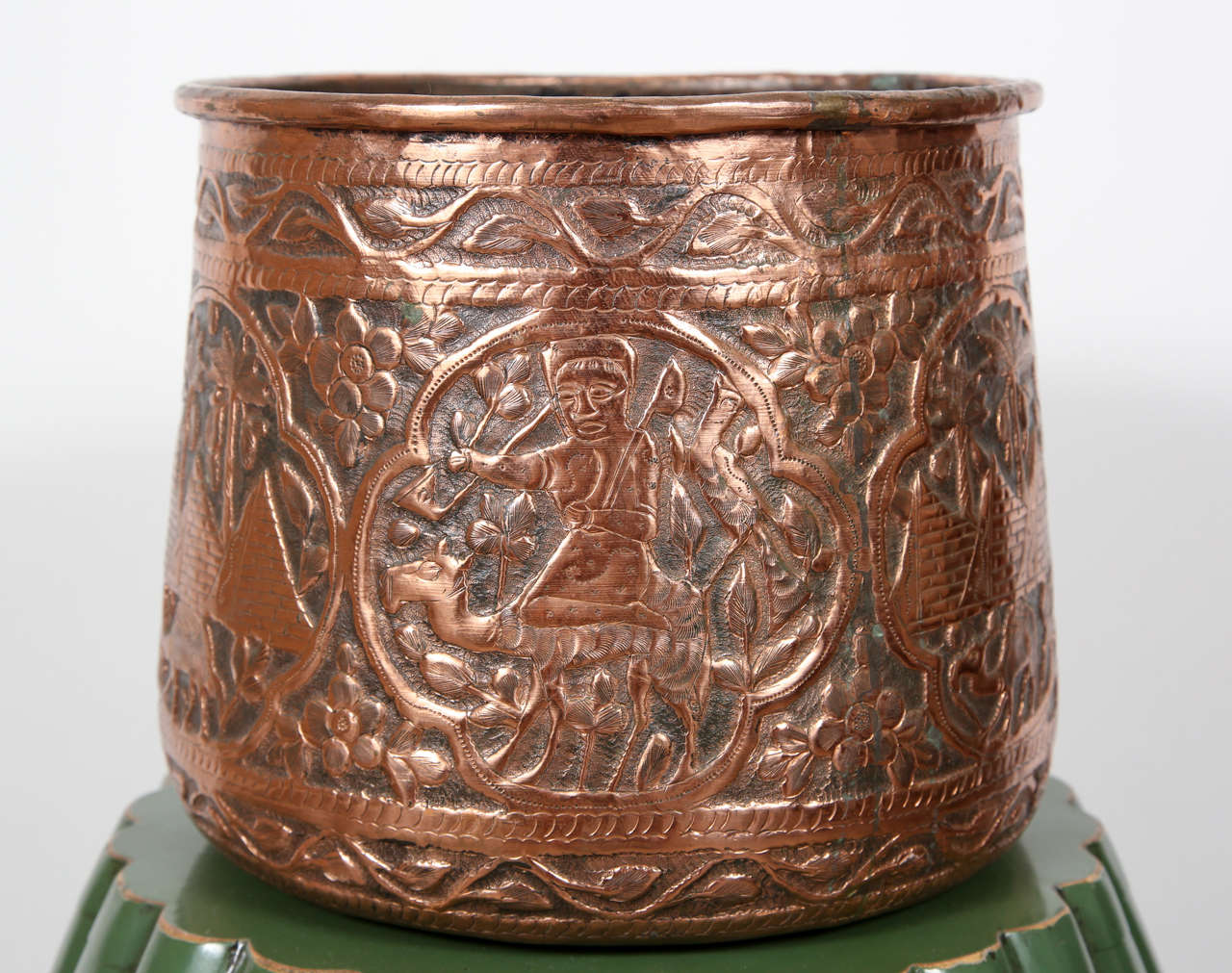 Copper Hand Etched Mameluke Pot Jardiniere