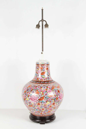 Large Japanese Pink Porcelain Table Lamp