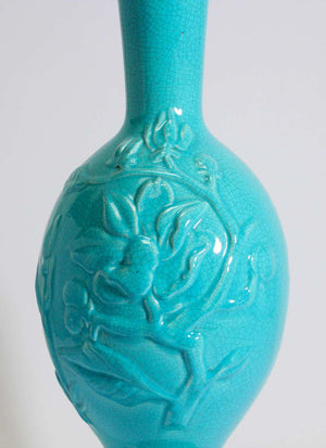 Vintage Asian Oriental Chinese Turquoise Ceramic Table Lamp
