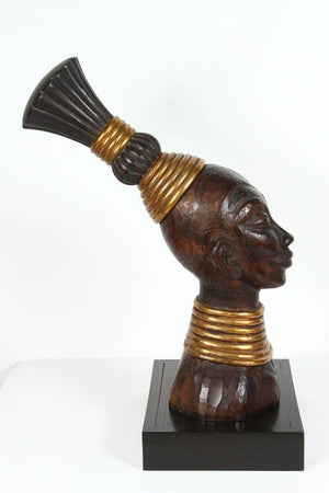 Zulu Wooden Tribal Contemporary Sculpture of Black African Male Bust