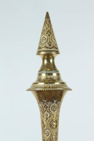 Tall Persian Polished Brass Decorative Urn