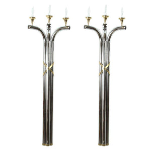 Large Oversized Pair of Modernist Art Deco Style 5 Feet Wall Sconces