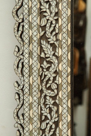 Syrian White Inlay Mirror, Late 20th century, 10ft Height