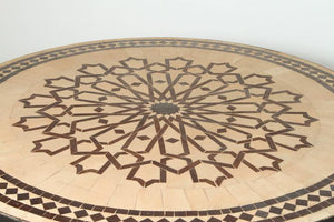 Moroccan Round Mosaic Outdoor Tile Table on Iron Base 47 in