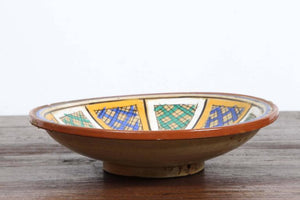 Hand-Painted Moroccan Antique Pottery Bowl