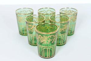 Set of 6 Traditional Green Tea Glasses with Gold Design