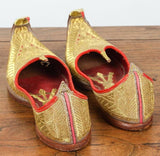 Gold and Red Embroidered Leather Shoes