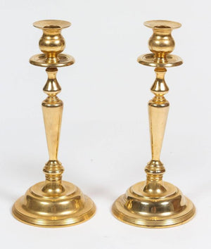 Pair of Polished Brass Candlesticks