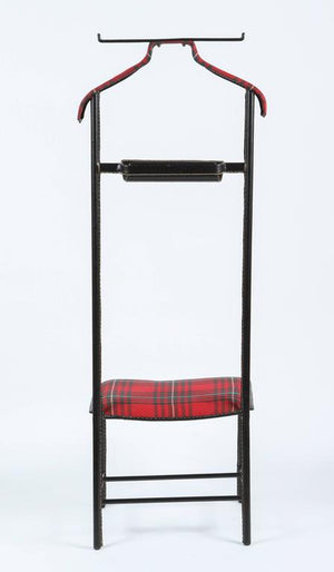 Jacques Adnet Leather Wrapped Valet with Original Tartan Plaid Wool Upholstery