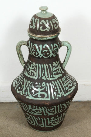 Pair of Moroccan Green and Brown Chiselled Ceramic Urns with Handles