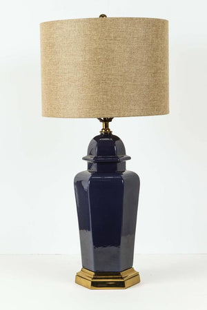 Pair of Modern Cobalt Blue Chinese Ginger Jars Table Lamps