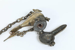 Hanging Bronze Oil Lamp in the Shape of a Bird India