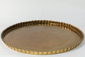 Large Moorish Middle Eastern Hanging Brass Tray Platter