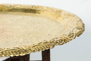 Anglo-Indian Engraved Round Polished Brass Tray Coffee Table on Wooden Stand