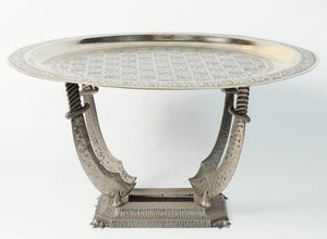 Moroccan Silvered Hand-Crafted Tray Table with Metal Stand