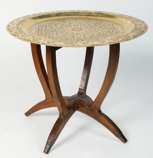 Polished Moroccan Brass Tray Side Table on Spider-Leg