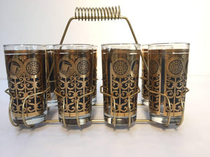 Vintage Eight Highball Black and Gold Glasses in a Brass Cart by Fred Press