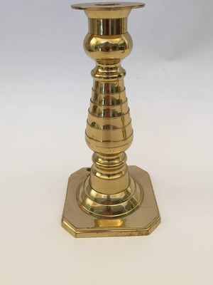 Pair of English Polished Brass Candlesticks