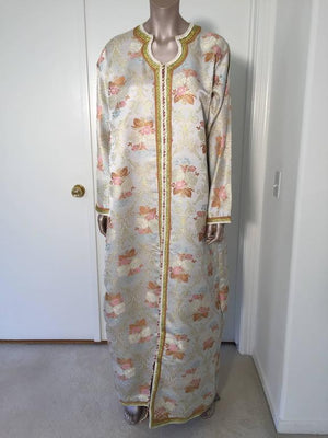Moroccan Kaftan in Lame Brocade Fabric Size L to XL