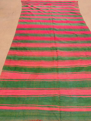 Moroccan Vintage Flat-Weave Rug Pink and Green