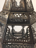 Moroccan Moorish Metal and Clear Glass Candle Lantern