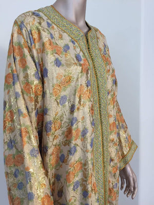Moroccan Brocade Floral Kaftan Gown Maxi Dress