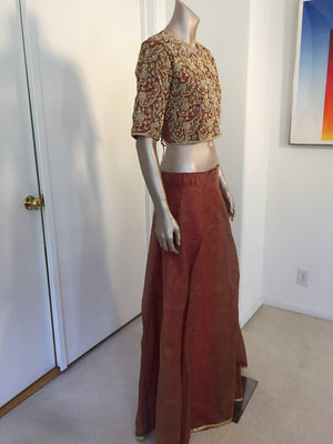 Bollywood Star Silk Sari Custom Designer Beaded Embroidered Gown