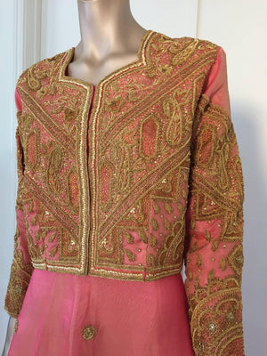 Embroidered Pink and Gold Silk Evening 3 Pieces Gown Vest and Skirt and Shawl