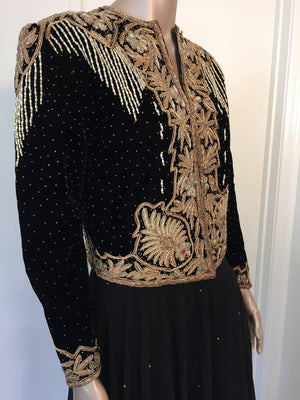 Vintage Embroidered Velvet Evening Two Pieces Gown Vest Skirt and Shawl
