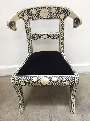 Anglo-Indian Bone Inlaid Side Chairs with Ram's Head