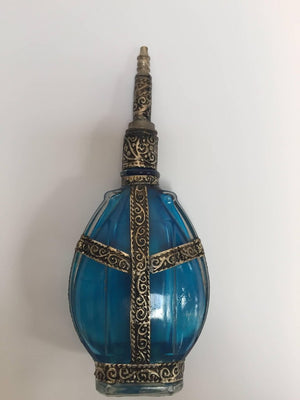 Handcrafted Moroccan Blue Glass Perfume Bottle with Metal Overlay