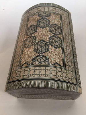 Middle Eastern Syrian Mother-of-Pearl Inlaid Walnut Large Jewelry Box