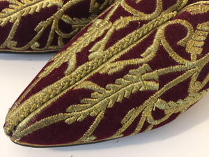 Turkish Velvet Embroidered with Gold Metallic Thread Slippers Shoes