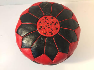 Moroccan Vintage Round Leather Pouf Red and Black