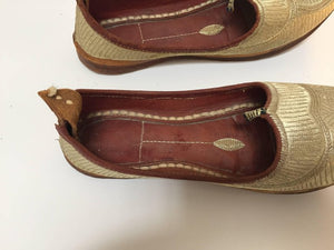 Turkish Leather Shoes with Gold Embroidered