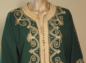 Moroccan Green Embroidered Caftan Maxi Dress Kaftan Size M