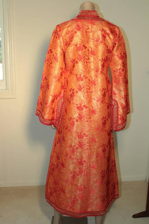 Moroccan Brocade Caftan Maxi Dress 1970 Kaftan Size S to M