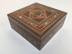 Middle Eastern Syrian Inlaid Marquetry Mosaic Box with a Set of Six Coasters