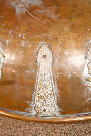 Moroccan Antique Bronze cover with brass etched decor