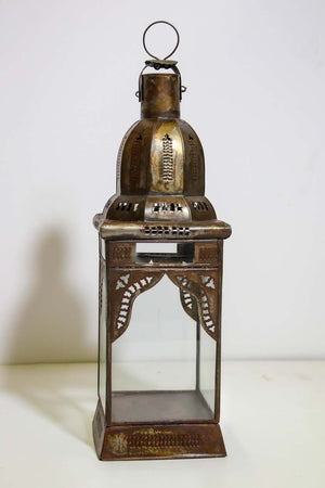 Moroccan Moorish Square Metal and Clear Glass Candle Lantern