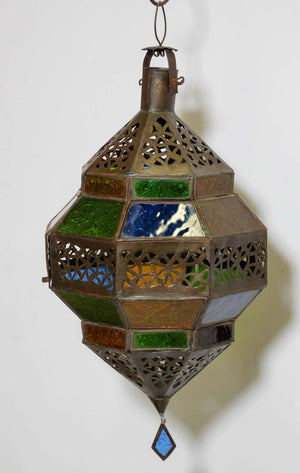 Moroccan Lantern, Handcrafted Octagonal Diamond Shape in Multi-Color Glass