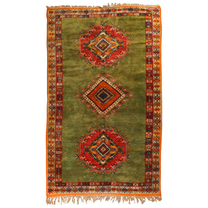 Vintage Moroccan Tribal Green and Orange Rug