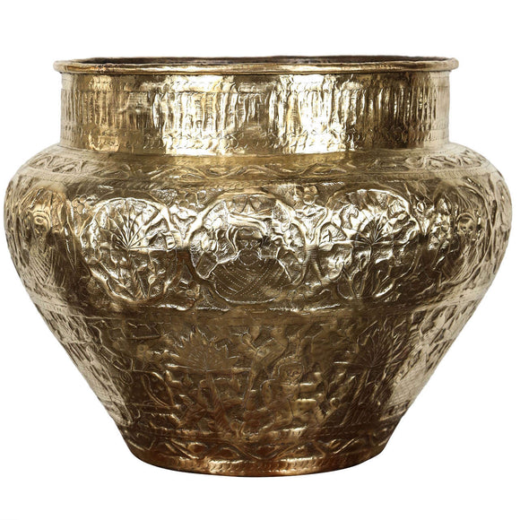 Persian Mameluke Hand Etched Brass Cache Pot