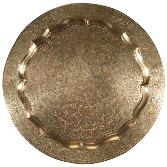 Anglo-Indian Round Brass Tray Wall Hanging